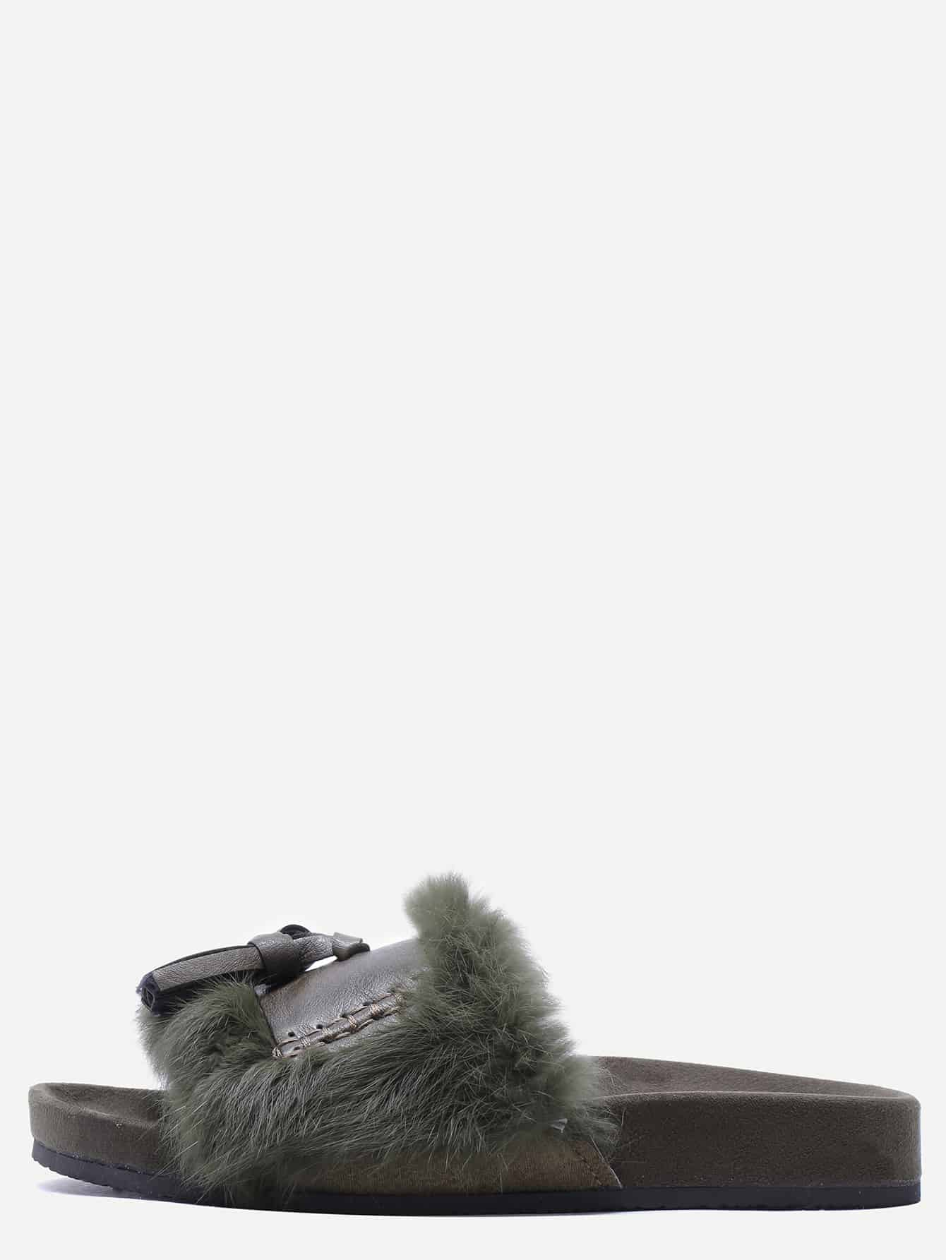 Army Green Peep Toe Faux Fur Tassel Trim Soft Sole Slippers
