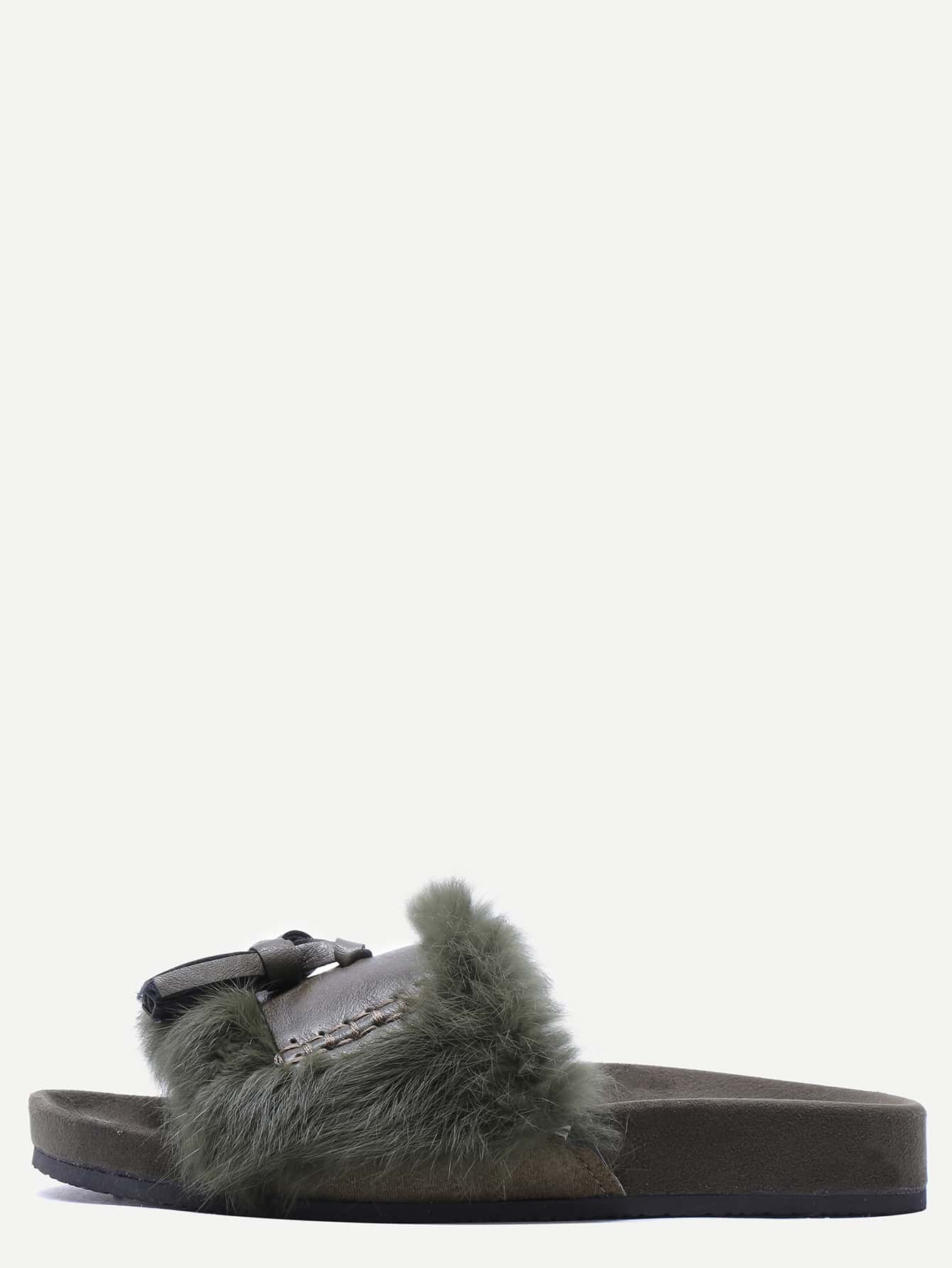 Green Faux Fur Peep Toe Casual Sandals.