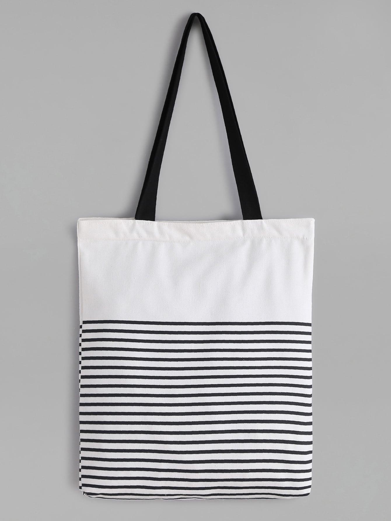 White Striped Canvas Tote Bag With Black Strap -SheIn(Sheinside)