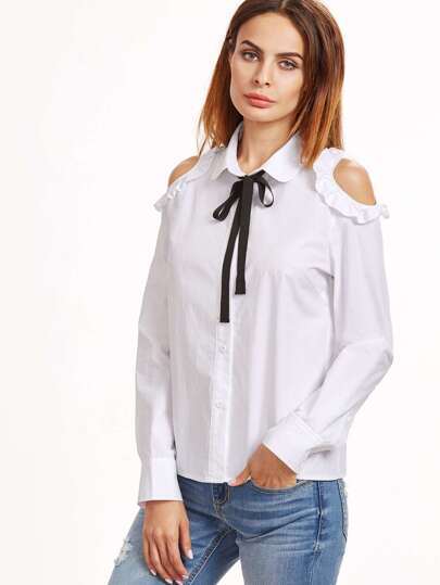 Contrast Tie Neck Frilled Open Shoulder Blouse