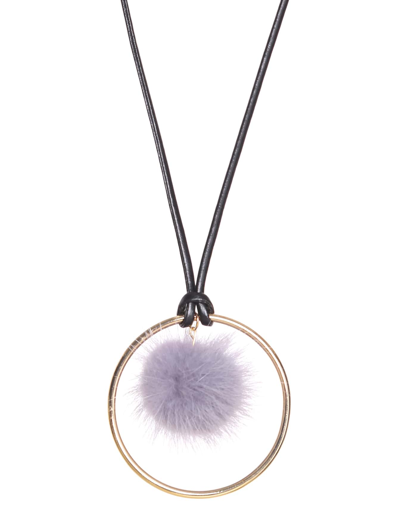 Grey Pom Pom Gold Ring Long Pendant NecklaceGrey Pom Pom Gold Ring Long Pendant Necklace<br><br>color: Grey<br>size: None