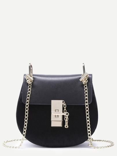 Black Horse Hair Covered PU Saddle Bag With Chain Strap