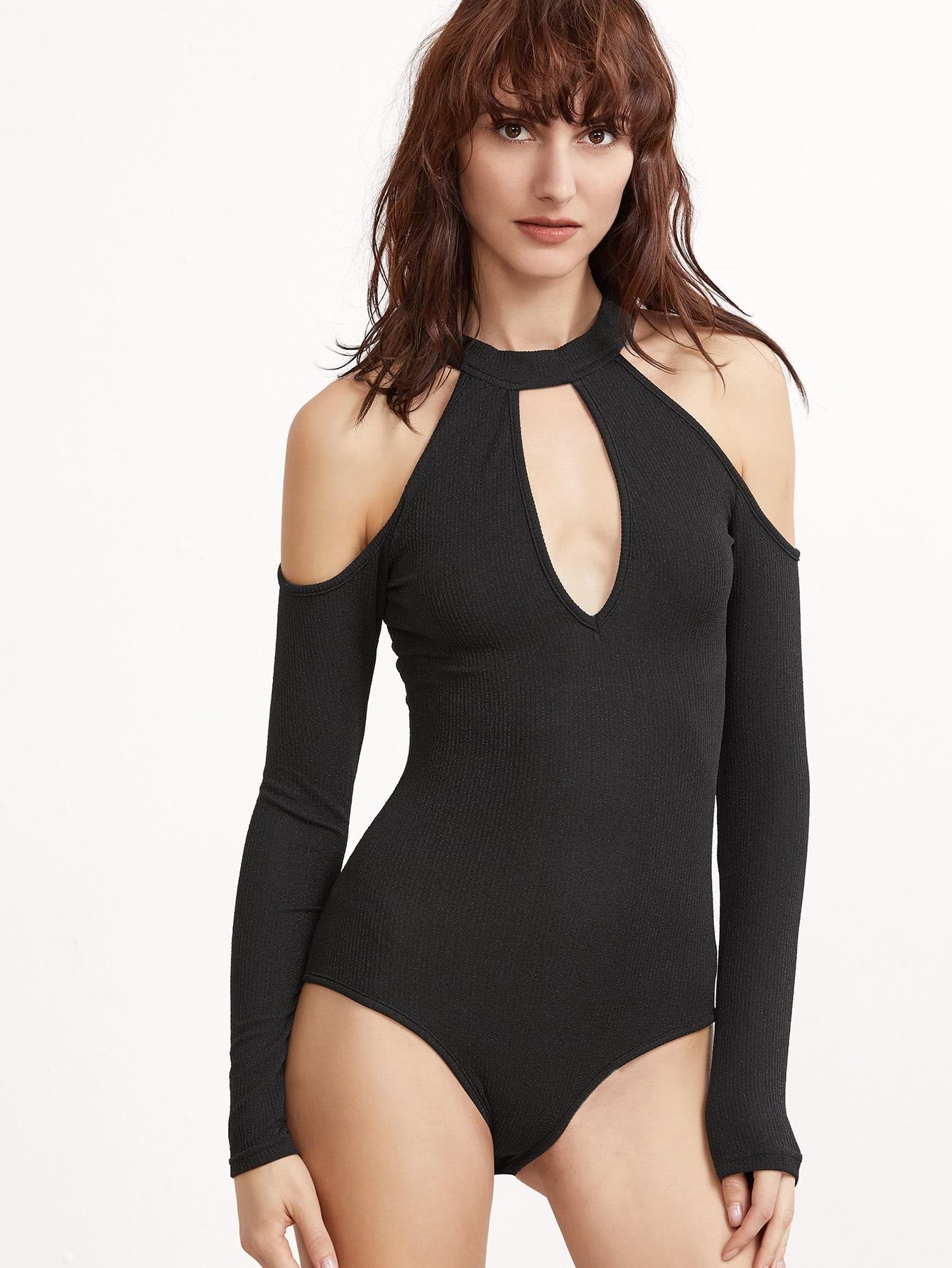 Фото Keyhole Cold Shoulder Sparkle Bodysuit. Купить с доставкой
