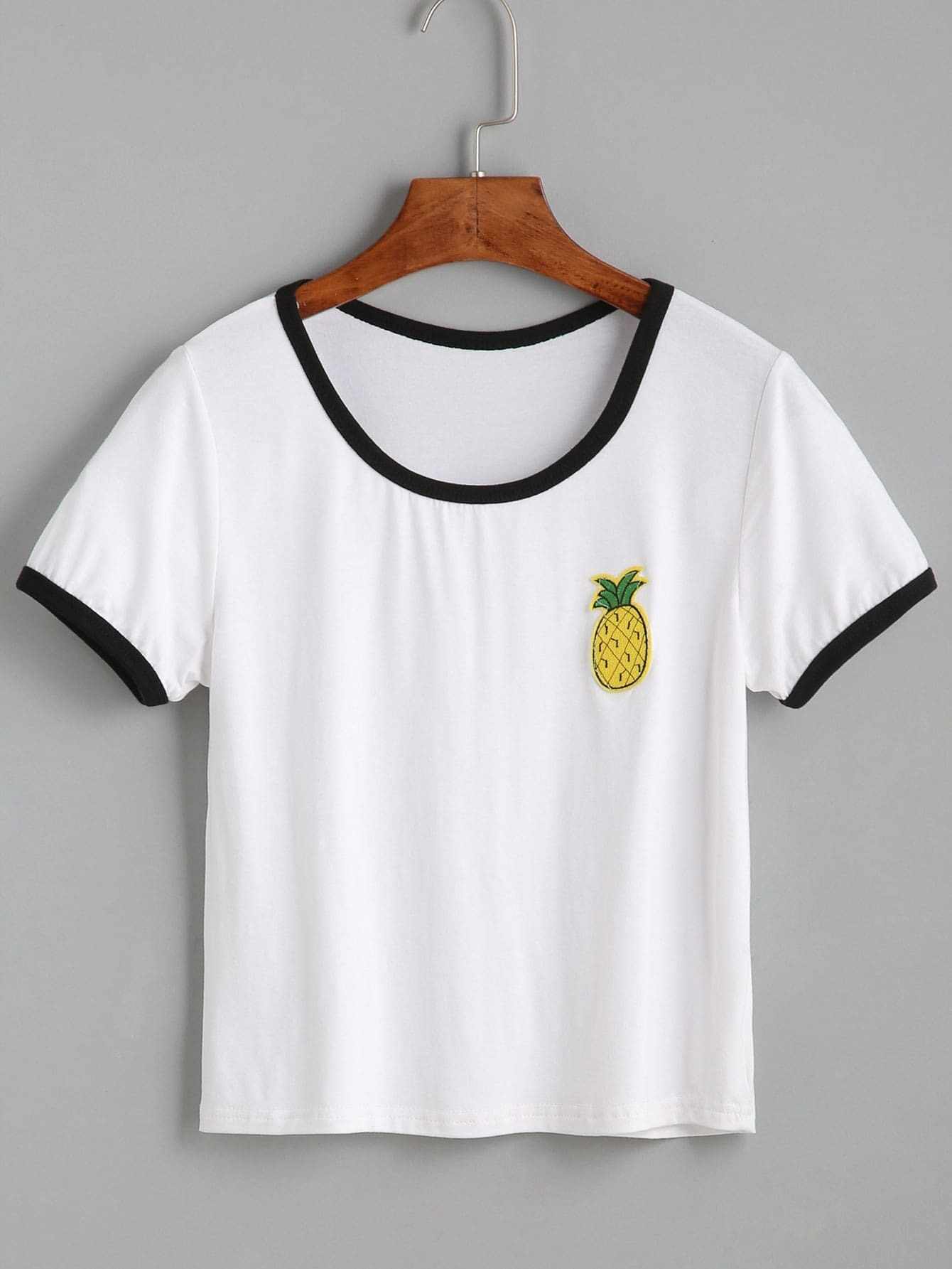 White Contrast Trim Pineapple Embroidered T-shirt RTSH160811006