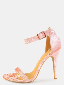 Open Toe Crushed Velvet Heels BLUSH