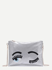 Silver Blinking Eye Glitter Sequins Clutch Bag With Chain Strap