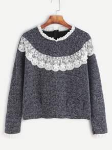 Contrast Lace Ruffle Trim Sweatshirt