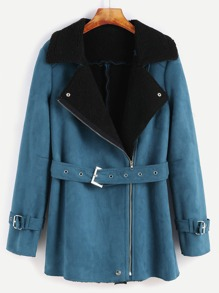 Green Faux Shearling Asymmetric Zip Belted Jacket