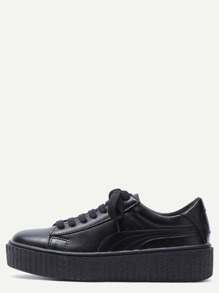 Black Lace Up Faux Leather Rubber Sole Low Top Sneakers
