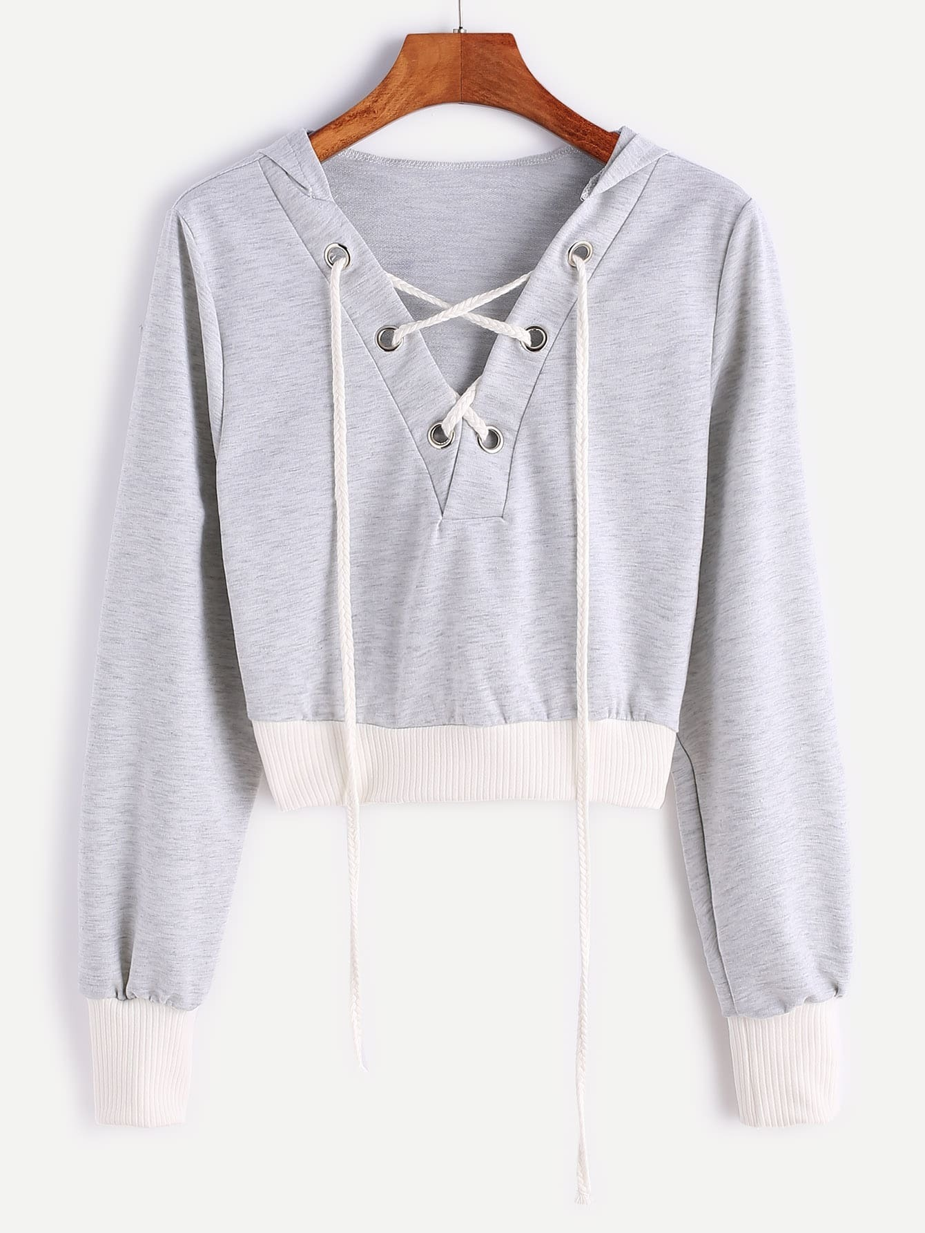 Contrast Ribbed Trim Hooded Lace Up Crop Sweatshirt sweatshirt161128303