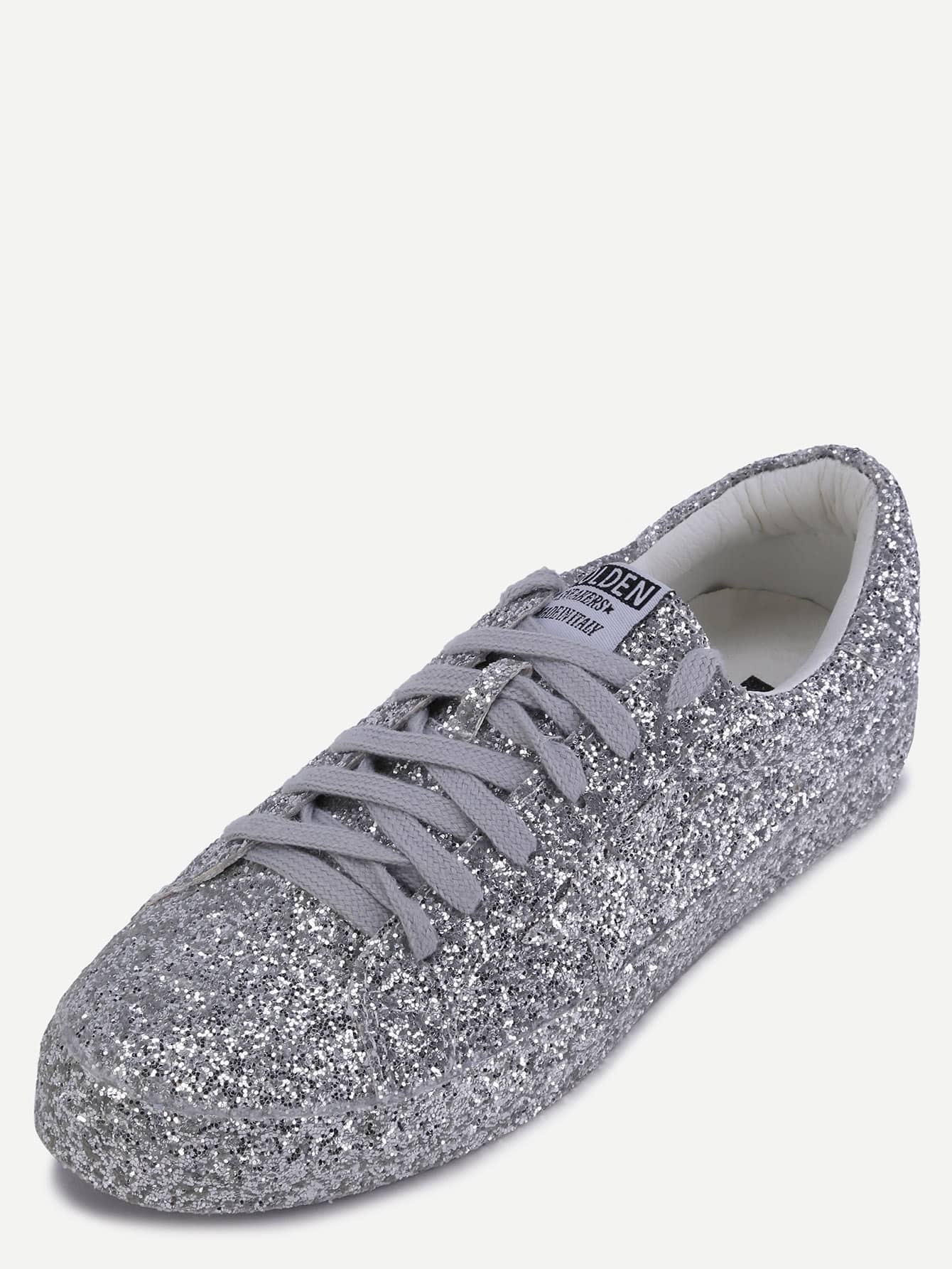 Silver Sequin Leather Low Top Sneakers -SheIn(Sheinside)