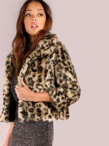 Cropped Leopard Fur Coat LEOPARD