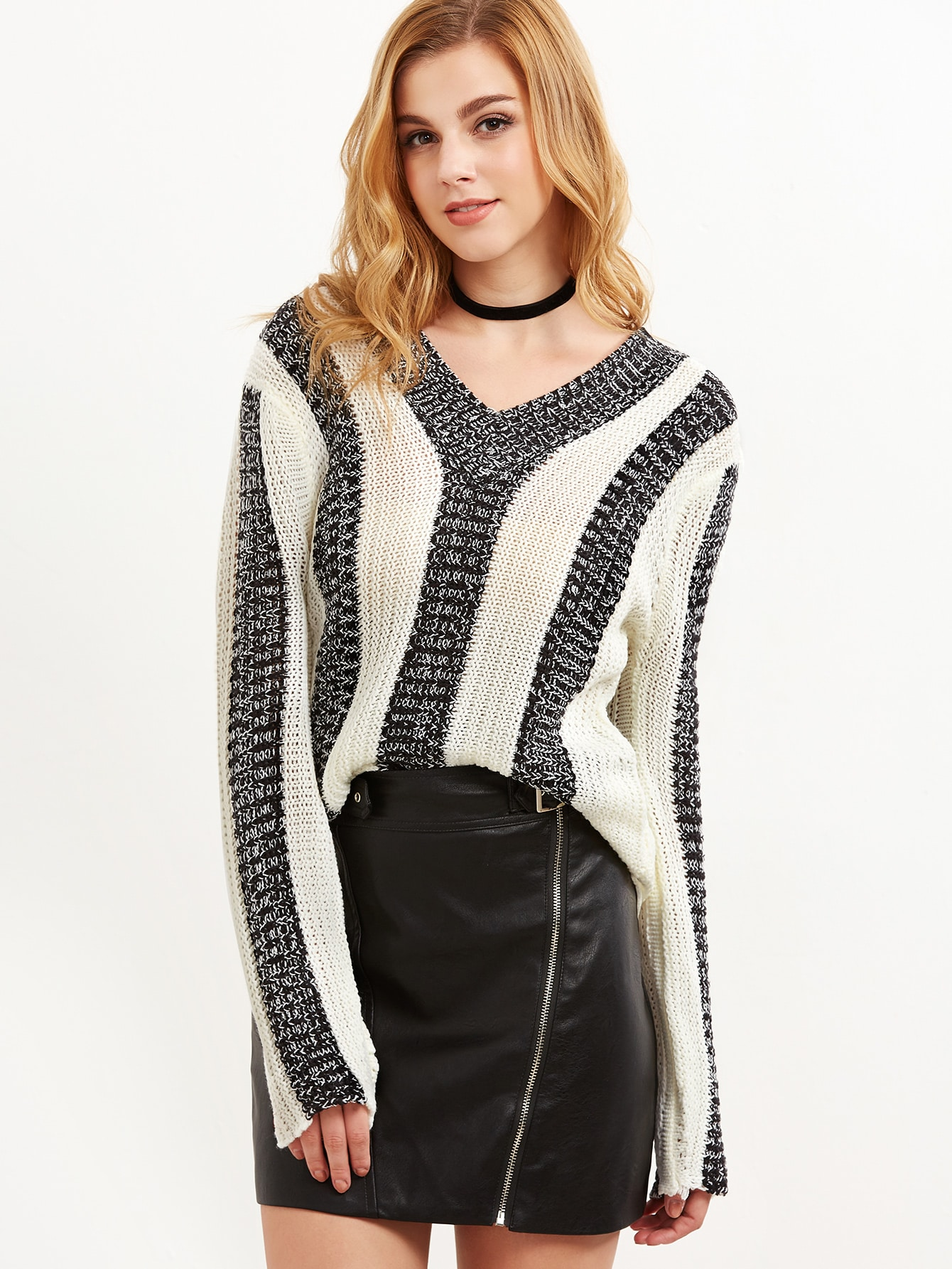 Contrast Marled Knit Vertical Striped Sweater sweater160929461