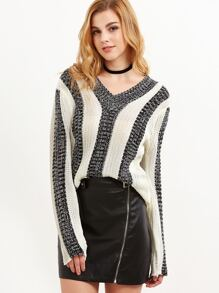 Contrast Marled Knit Vertical Striped Sweater