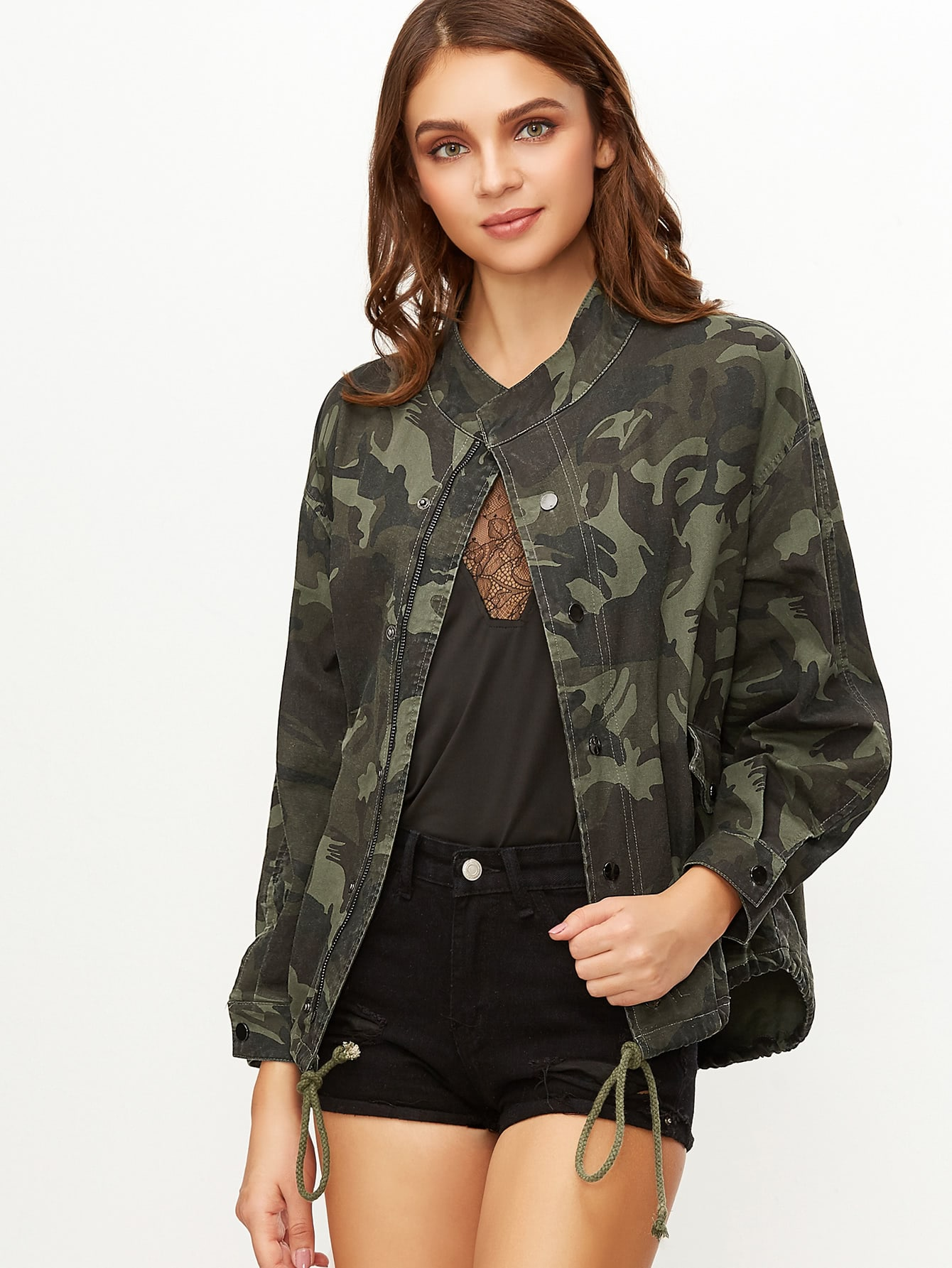 Olive Green Camo Print Drawstring Hem Zip Up JacketOlive Green Camo Print Drawstring Hem Zip Up Jacket<br><br>color: Green<br>size: L,M,S,XS