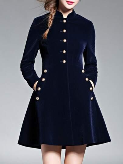Navy Velvet Pockets A-Line Dress