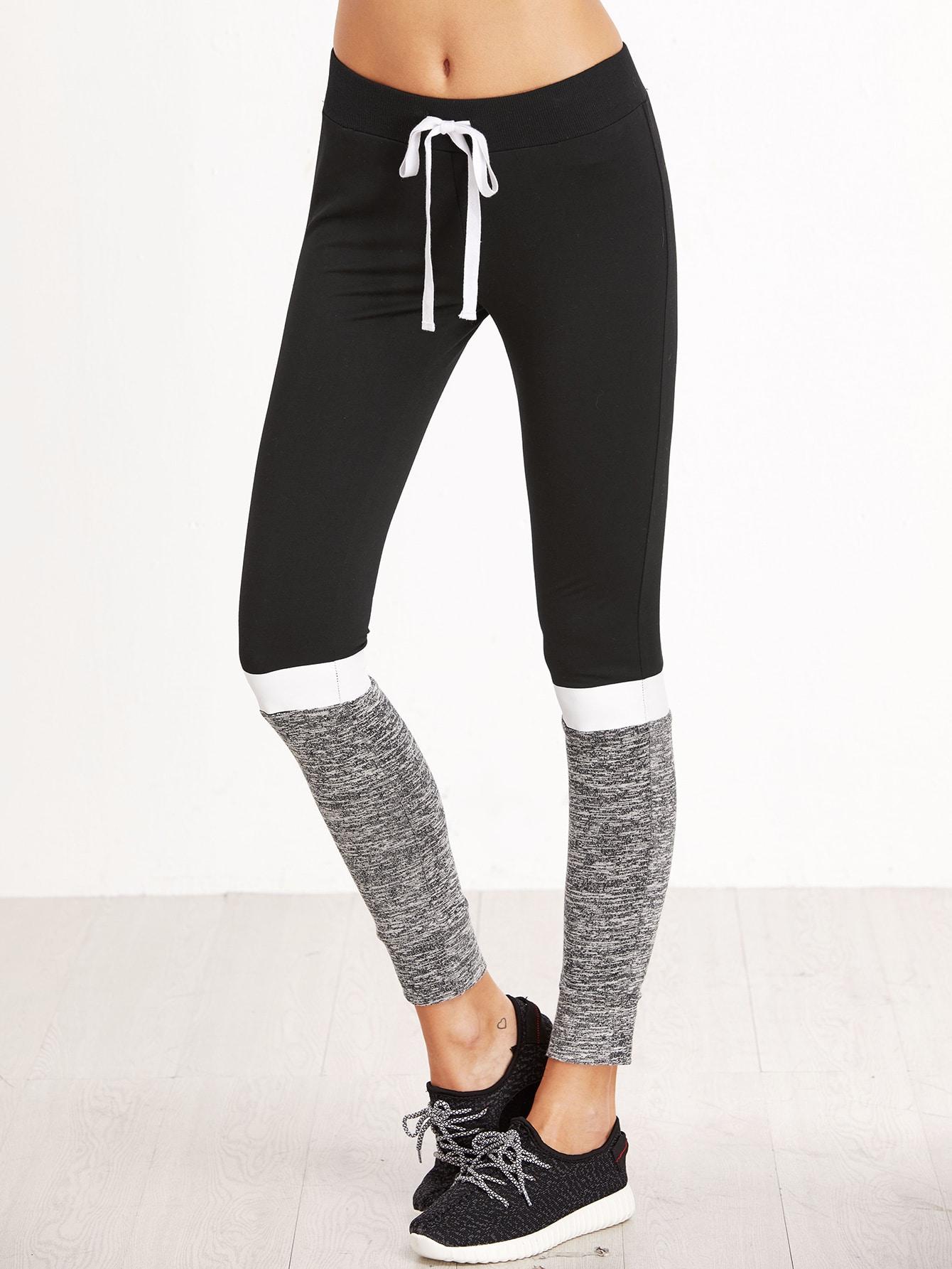 Color Block Drawstring Waist Skinny Sweatpants pants161115702