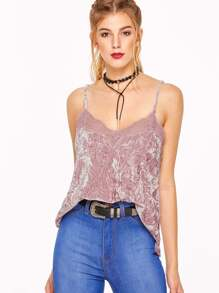 Pink Lace Trim Crushed Velvet Cami Top
