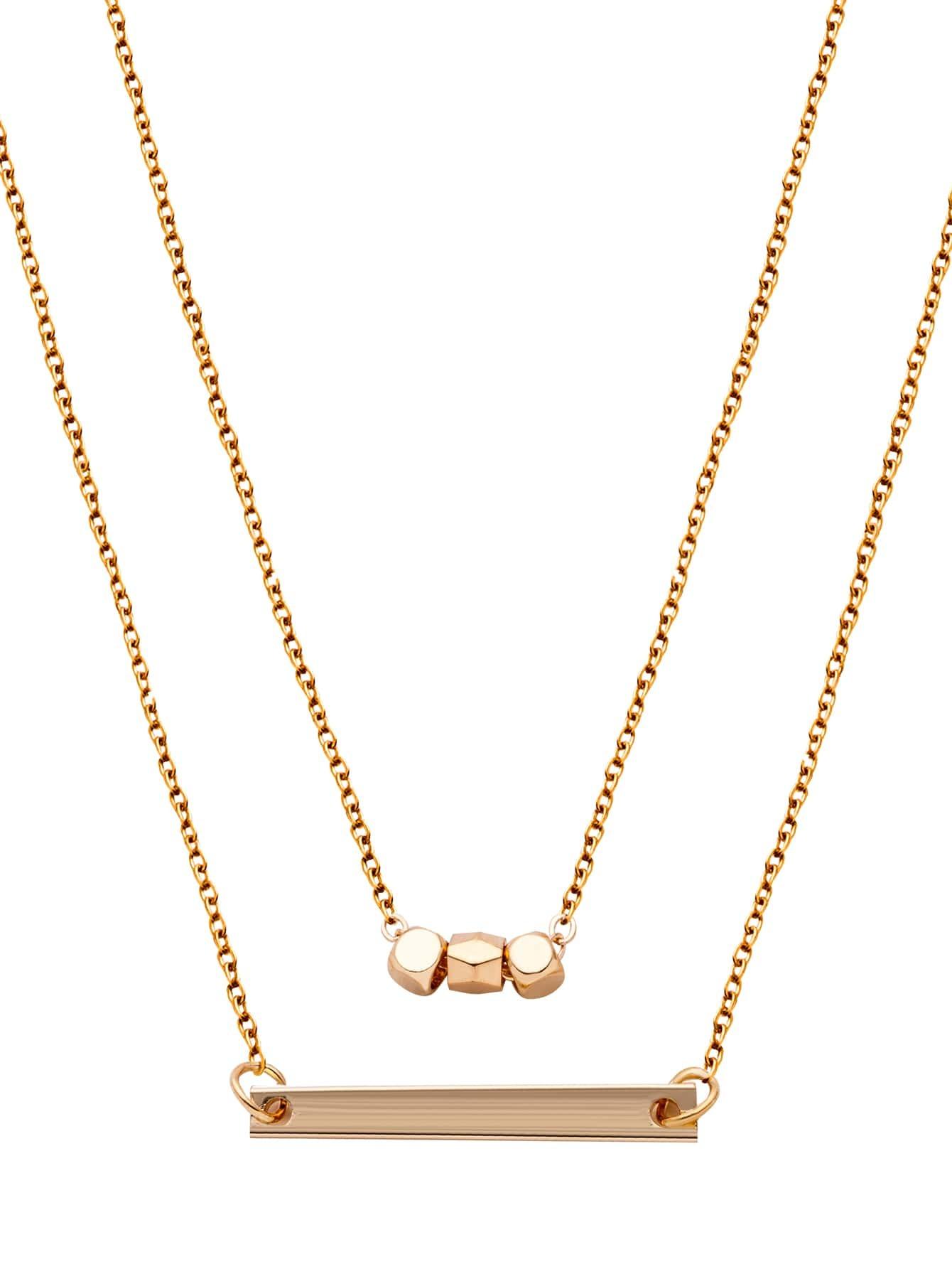gold plated geometric horizontal bar pendant necklace. Black Bedroom Furniture Sets. Home Design Ideas