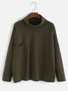 High Neck Pockets Split T-shirt