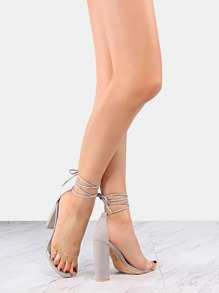 Clear Strap Lace Up Chunky Heels GREY