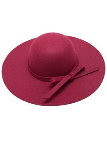 Burgundy Bow Trim Wide Brimmed Felt Hat
