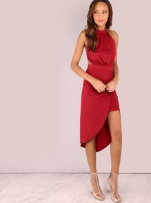 Halter Knot Drape Dress RED