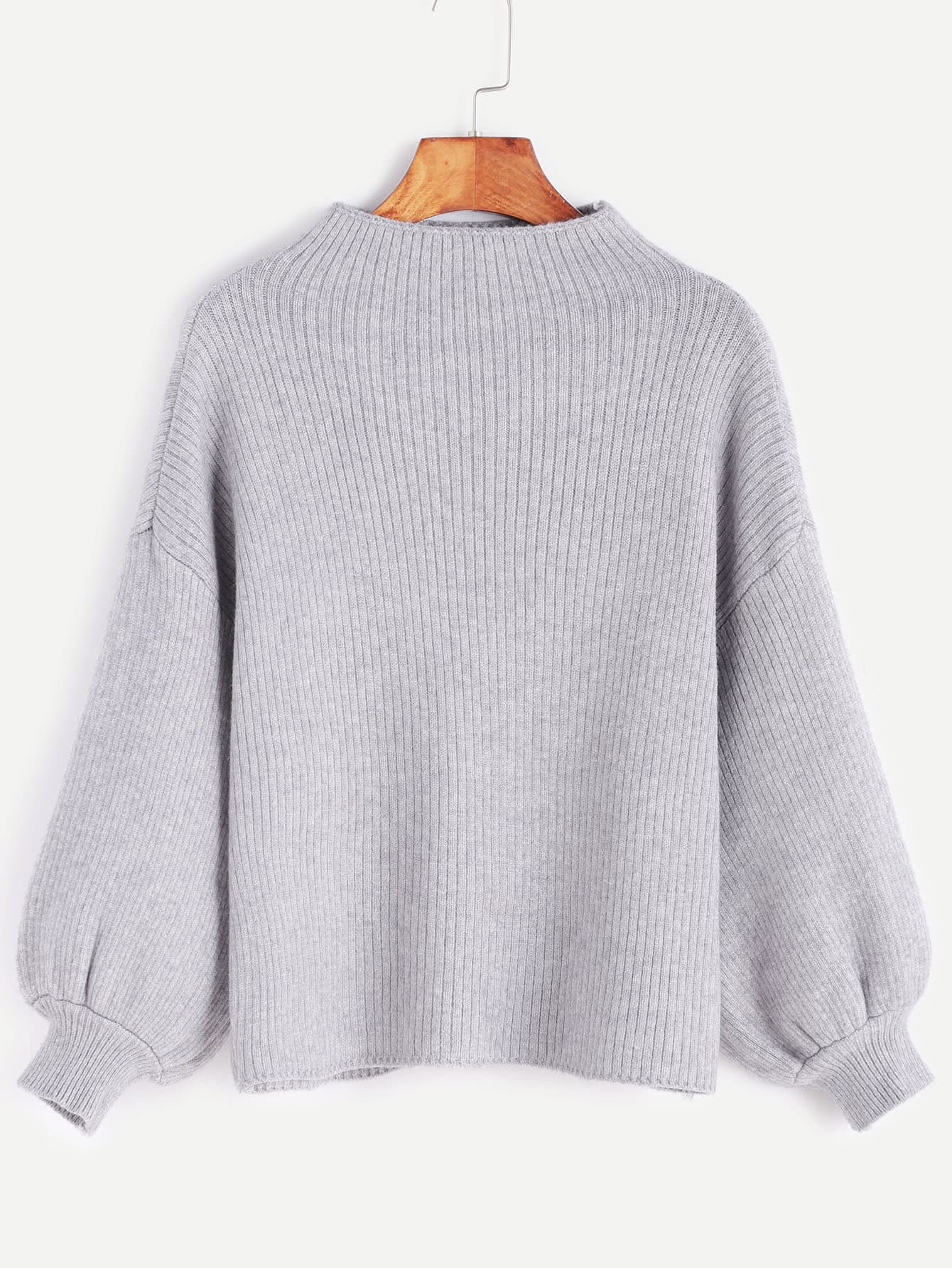 Grey Drop Shoulder Lantern Sleeve Ribbed Sweater sweater161109101