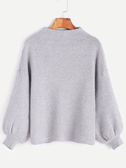 Grey Drop Shoulder Lantern Sleeve Ribbed Sweater