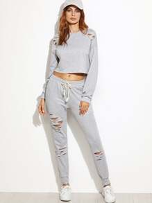 Heather Grey Ripped Crop Top With Drawstring Waist Pants