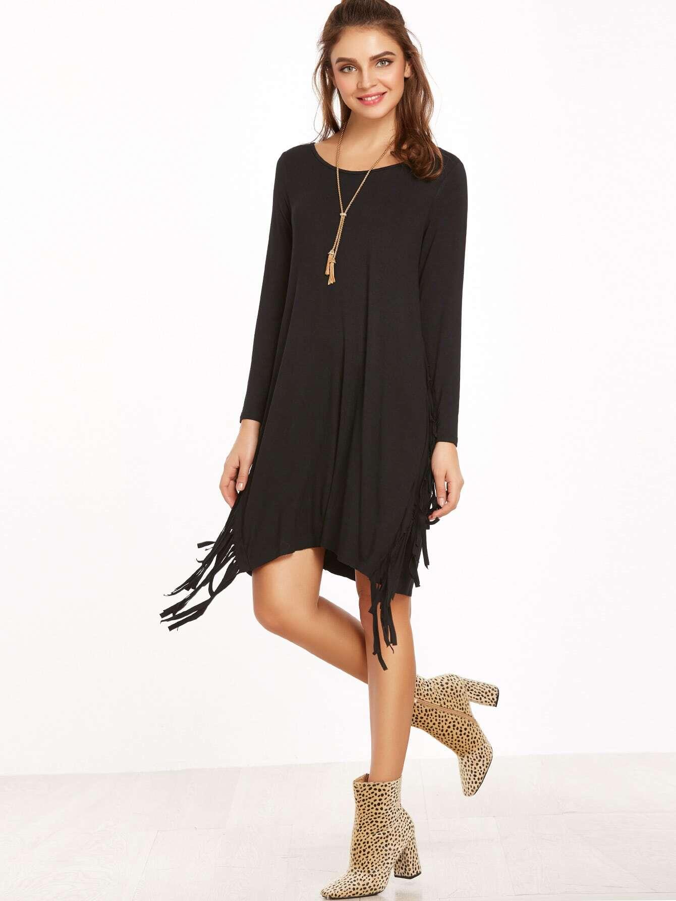 robe manche longue frange noir french shein sheinside. Black Bedroom Furniture Sets. Home Design Ideas