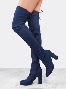 Patched Tie Back Denim Boots BLUE DENIM