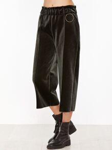 Dark Green Elastic Waist Wide Leg Velvet Pants
