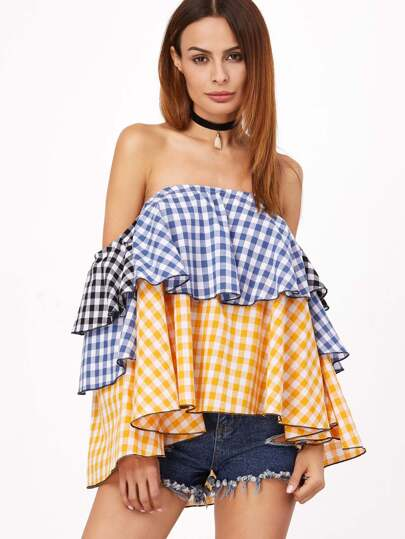 Gingham Layered Off The Shoulder Top