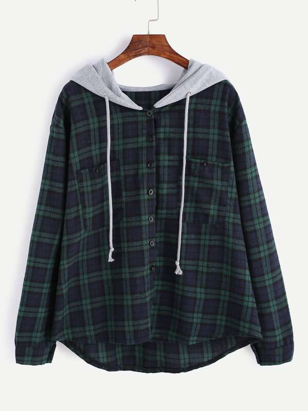 Hooded Button Front Check Sweatshirt With Chest Pockets, null