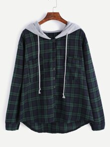 Hooded Button Front Check Sweatshirt With Chest Pockets