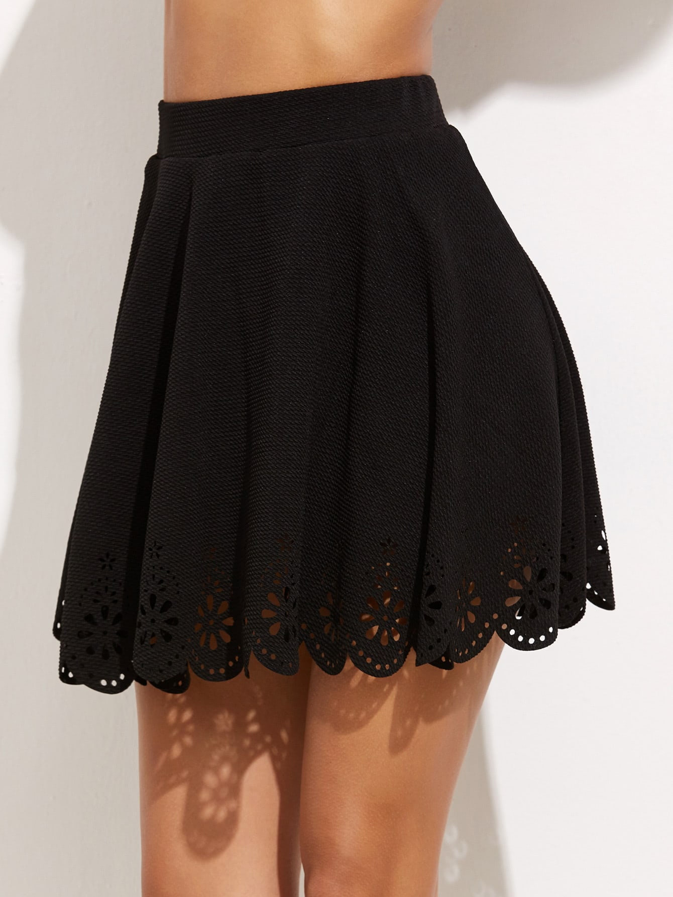 Laser Cutout Scallop Hem Textured Skirt ruffle waist zip back scallop hem embroidered gingham skirt