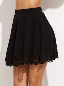 Laser Cutout Scallop Hem Textured Skirt