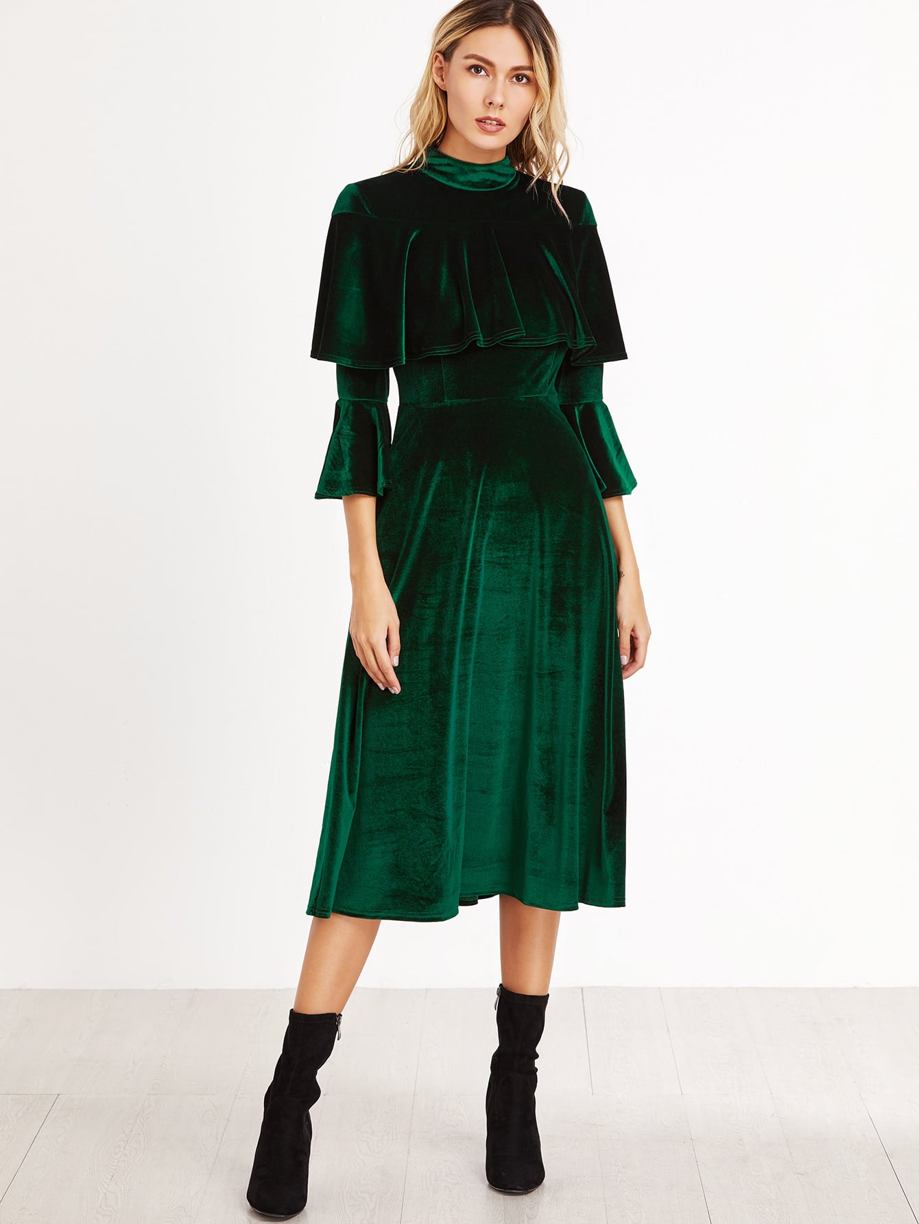Green Ruffle Trim Bell Sleeve Velvet Midi DressGreen Ruffle Trim Bell Sleeve Velvet Midi Dress<br><br>color: Green<br>size: L,M,S,XS