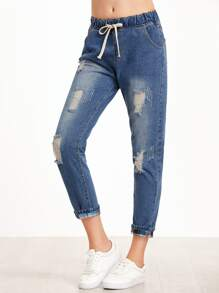 Blue Ripped Cuffed Drawstring Jeans