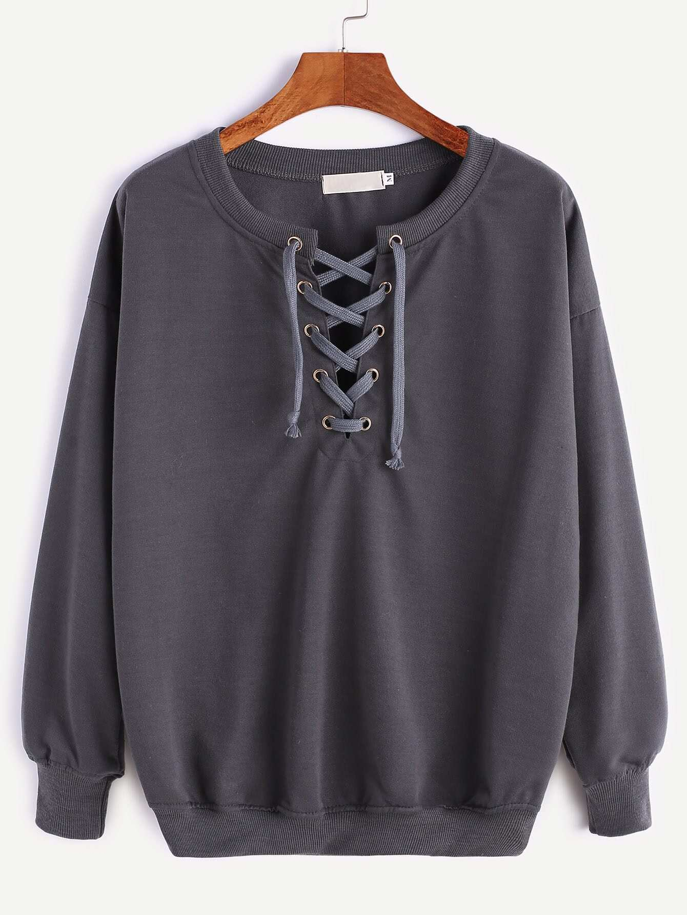 Dark Grey Ribbed Trim Drop Shoulder Lace Up Sweatshirt sweatshirt161124302