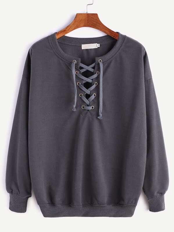 Dark Grey Ribbed Trim Drop Shoulder Lace Up Sweatshirt, null