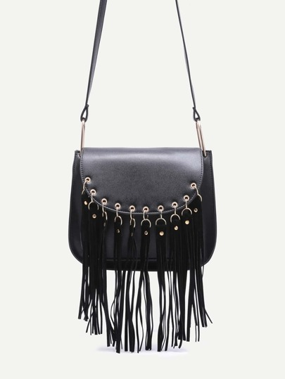 Black Mini Fringe Shoulder Bag