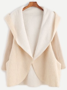 Apricot Ribbed Sleeve Hooded Sherpa Coat