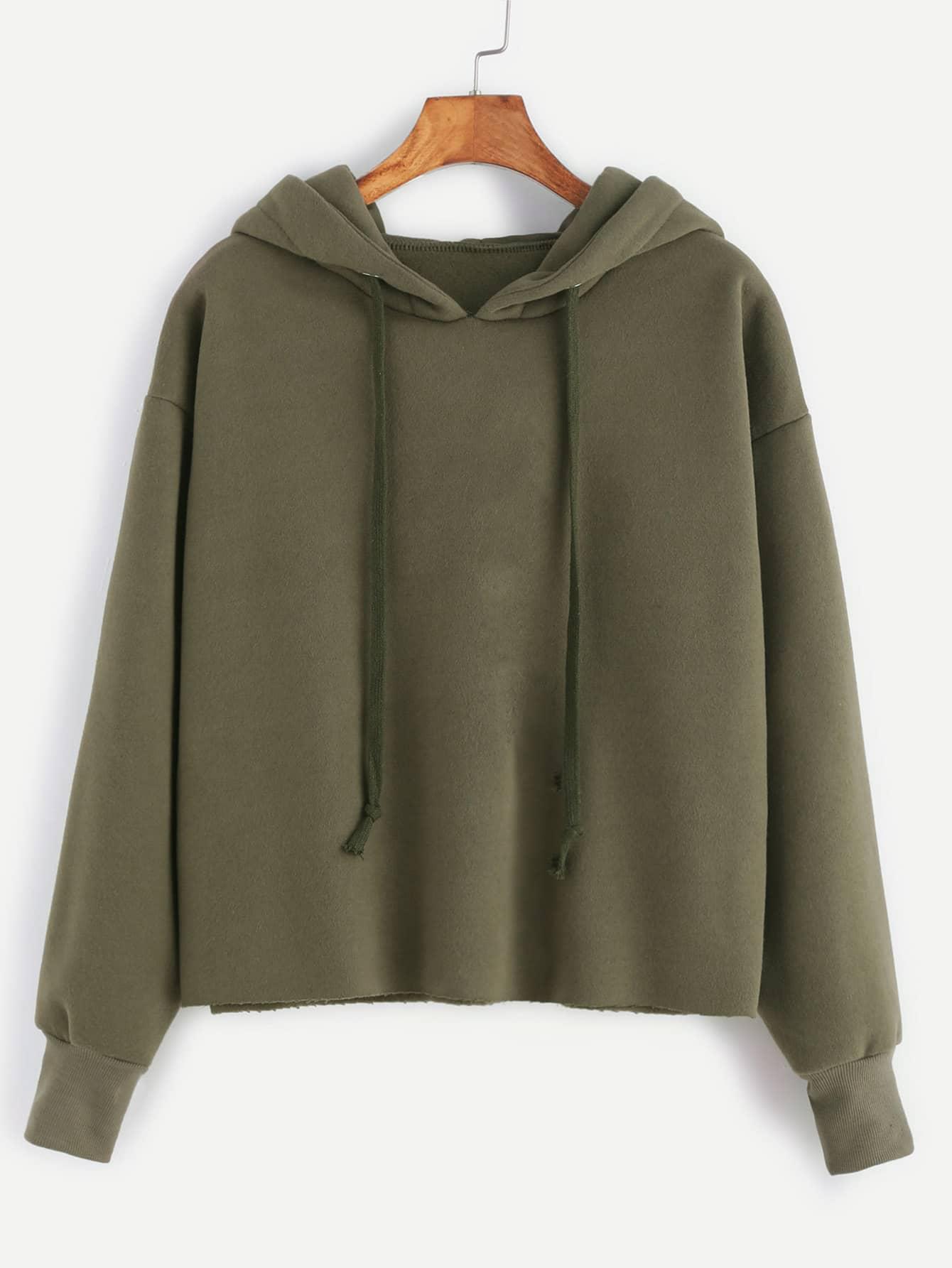 Hooded Drawstring Raw Hem Sweatshirt alien print drop shoulder hooded drawstring sweatshirt
