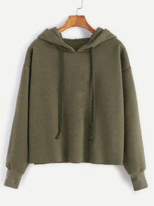 Hooded Drawstring Raw Hem Sweatshirt