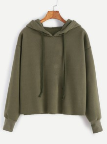 Kapuzensweatshirt Schnittkante-armee grün