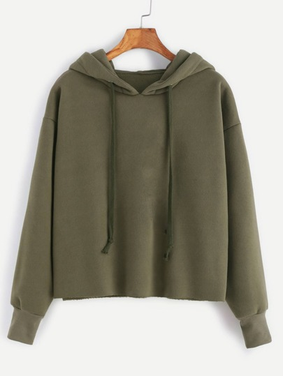 Sudadera desflecada con capucha - verde militar