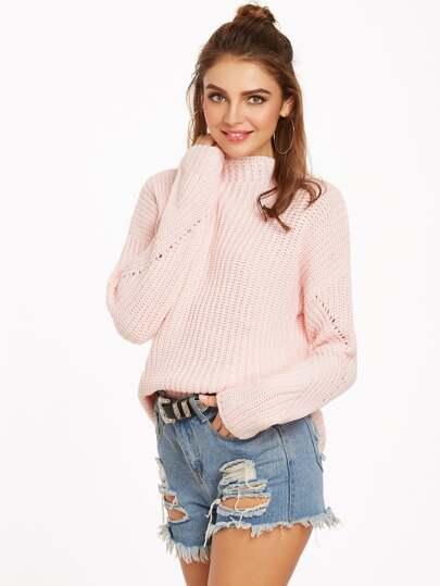 Pink Funnel Neck Drop Shoulder Eyelet Sweater