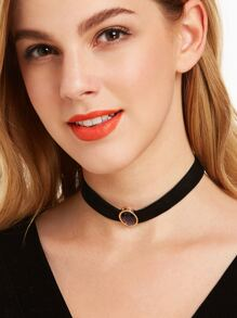 Black Ribbon Oval Gemstone Vintage Choker Necklace